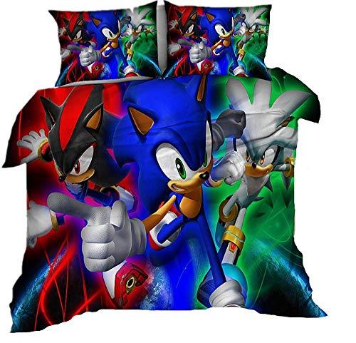 AmenSixye Juego de Cama Extragrande de Dibujos Animados Sonic The Hedgehog, Juego de edredón cómodo y Suave, Ropa de Cama para niños y niñas,228x228cm(3piezas)
