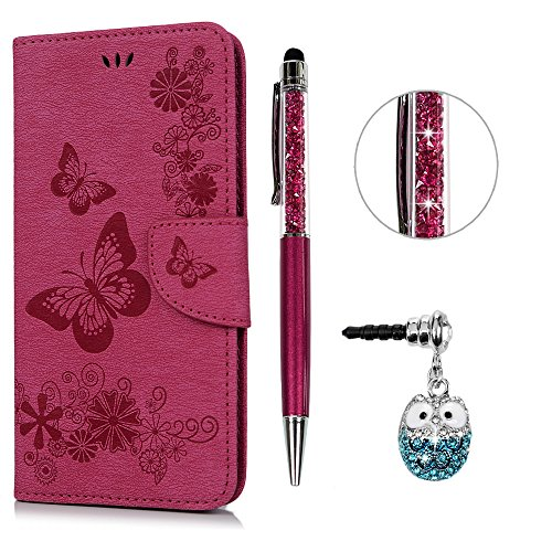 iPhone 6S Plus Hülle Leder Case,KASOS iPhone 6 Plus Handyhülle Brieftasche Book Type PU Leder +TPU Innere Tasche Bunt Gemalt Magnetverschluss Ledertasche Cover,Rose rot + Stöpsel + Stylus
