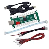 SJ@JX アーケードゲーム USBエンコーダー ゼロディレイ アーケードボタン ジョイスティックコントローラー Retropie Raspberry MAME HAPP SANWA用 レッド