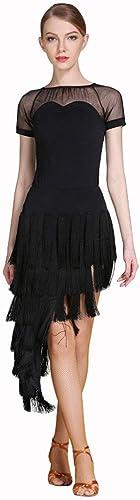 Tenue De Danse Latine Ensembles De Costume D'entraînement à Manches Courtes, Jupe Femme (Couleur   noir, Taille   XXL)