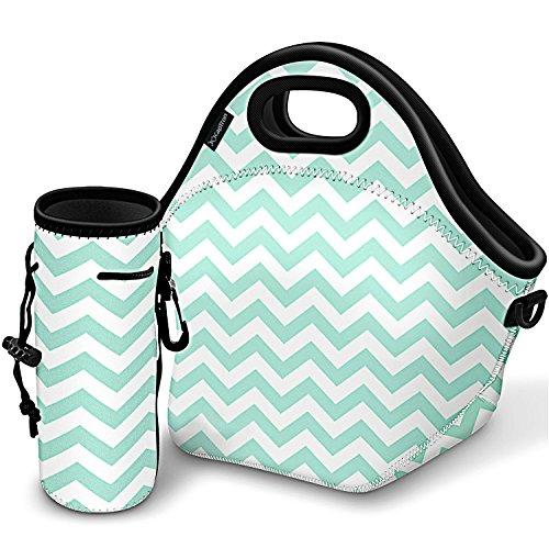 Kaptron Lunchtasche, dick, isoliert, Lunchbox mit Schultergurten und Flaschenhalter/Abdeckung für Erwachsene, Frauen, Mädchen, Schulkinder, geeignet für Reisen, Picknick, Büro Large mint