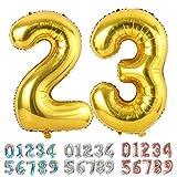 Ponmoo Birthday Ballon Chiffre 23 / 32 Or 86cm, Ballon Age BirthdayBallons Numéro Anniversaire Chiffres 23 Ans 32ans Birthday Party - 34 Pouce Or 23 32