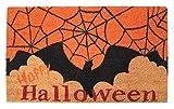 "Natural Coir Coco Fiber Non-Slip Outdoor/Indoor Halloween Doormat, 18x30"", Heavy Duty Entry Way Shoes Scraper Patio Rug Dirt Debris Mud Trapper Waterproof-Bats Spider Web"