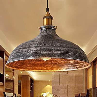"""NIUYAO 14"""" Wide Rustic Industrail Big Barn Pendant Light Lamp Dome Shade Hanging Ceiling Light [Rust Silver]"""