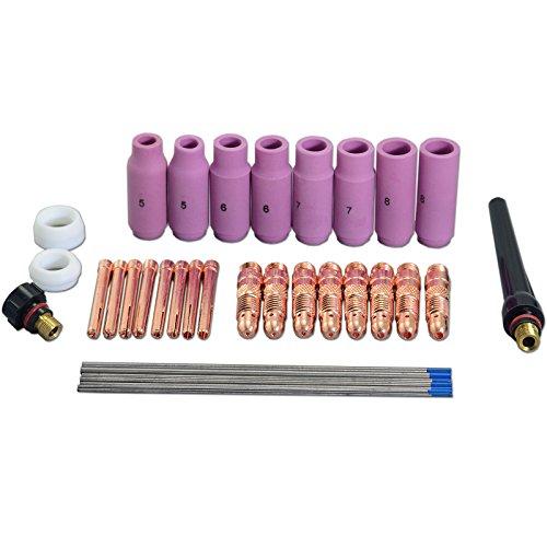 2 porcentaje TIG lente de gas Lanthanate electrodo tungsteno TIG kit de accesorios de cuerpo de pinza para WP-17 WP-18 WP-26 TIG soldadura de antorcha 36pcs