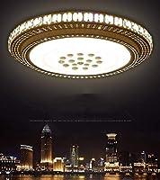 HJW 装飾的なシャンデリア、天井灯、50Cm Ledラウンドクリスタルリビングルームライト、モダンなミニマリスト寝室ライト、大気中のダイニングルーム照明三色の調光,白い光