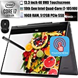 2020 Latest Dell Inspiron 13 7000 2-in-1 Laoptop 13.3' UHD 4K Touchscreen Intel 4-Core i7-10510U 16GB RAM 512GB PCIe SSD Backlit FP Thunderbolt 3 Active Pen Win 10 + iCarp Wireless Mouse