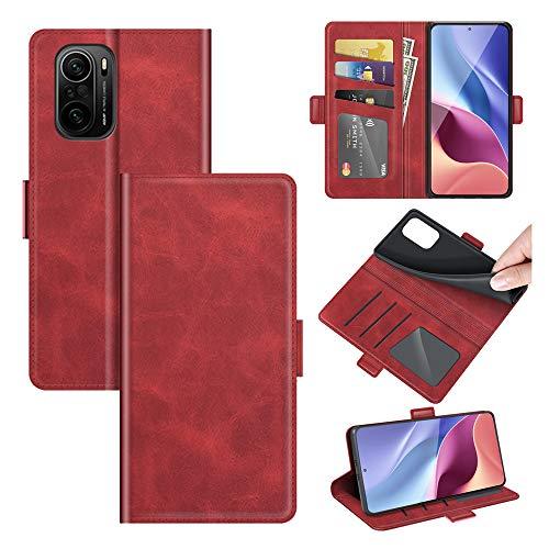 AKC Funda Compatible para Xiaomi Poco F3/11 i/11 X(Pro) Redmi K40(Pro) Carcasa Caja Case con Flip Folio Funda Cuero Premium Cover Libro Cartera Magnético Caso Tarjetero y Suporte-Rojo