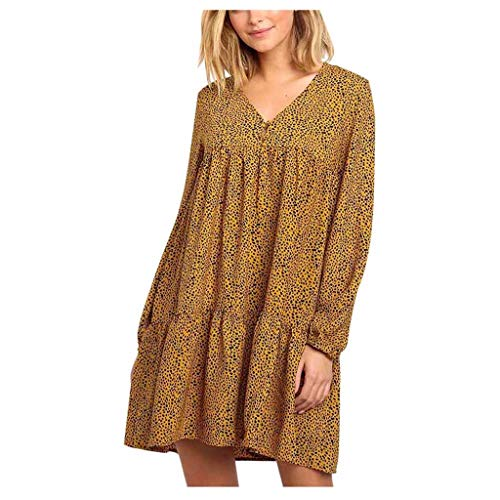 TEELONG Kleider Damen Sexy Dot Printing Longsleeve O Neck Langes Kleid Abendkleid Ballkleid Partykleid Cocktailkleid(XL, Gelb)