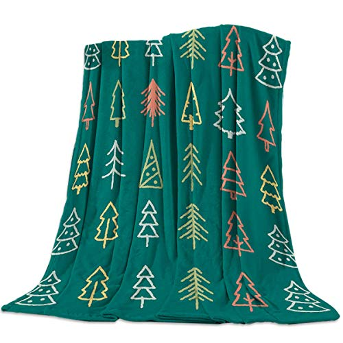 Jeewly Coperta da Letto in Pile di Flanella Fantastic Fir Tree Christmas Elements Throw Blanket all Season Warm Fuzzy Light Weight Cozy Plush Blankets for Living Room/Bedroom 60' x 80'