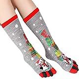Ybzx Calcetines de Navidad Fovely, Calcetines de Cinco Dedos para Mujer, Calcetines elásticos...