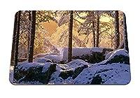 22cmx18cm マウスパッド (冬の木の森の木陰) パターンカスタムの マウスパッド