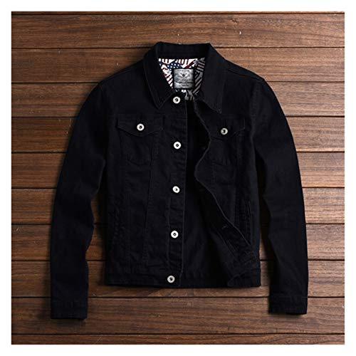aiyu Chaqueta de piel sintética 2021 nueva y cálida para hombre, chaqueta vaquera y abrigos casual para hombre, chaleco vaquero para hombre, color caqui, negro, verde y rojo (color: negro, talla: XL)