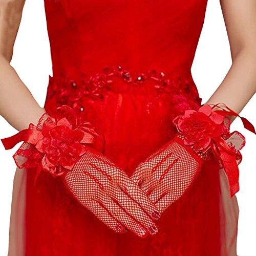 Élégant rouge dentelle grilles style femmes mariage/gants de partie