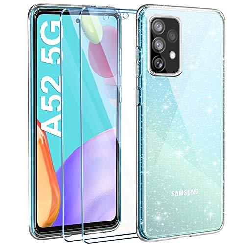 AROYI Cover Compatibile con Samsung Galaxy A52 5G Custodia Glitter Flessibile TPU Silicone Liquid Crystal Custodia Case con 2 Pezzi di Vetro Temperato Incluso