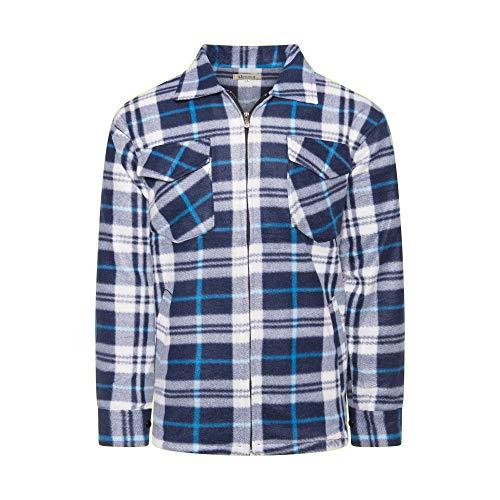 Benk - Camicia da lavoro in flanella, a quadretti, foderata, 05 bianco/blu L