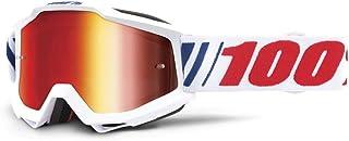100 Percent ACCURI Goggle AF066-Mirror Red Lens Gafas de protección, Adultos Unisex, Blanco-Cristal Rojo, Mediano