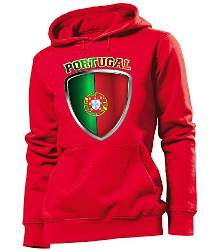 Golebros Portugal Fussball Fußball Trikot Look Jersey fanhoodie Damen Frauen Hoodie Pulli Sweatshirt Kapuzen Pullover Fan Fanartikel Outfit Bekleidung Oberteil Artikel