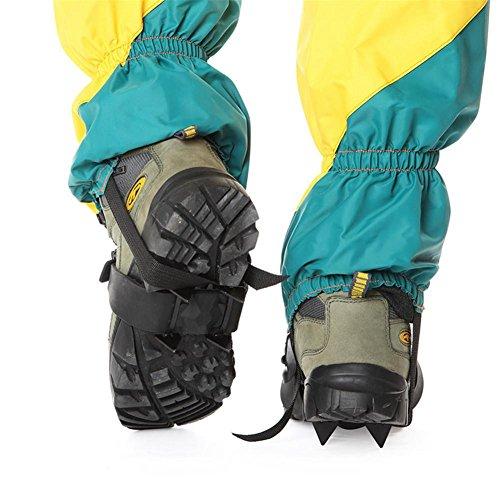Baisde Crampones de Hielo 4 Garras de los Dientes Ligeros Zapatos Antideslizantes portátiles Cubierta para Nieve de esquí al Aire Libre Senderismo Escalada