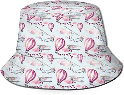 NA hoed Vintage vliegtuig vlaggen slingers zonnekap emmer hoed outdoor hoed UV zon bescherming hoed opvouwbare lichtgewicht ademende Travel Cap zwart