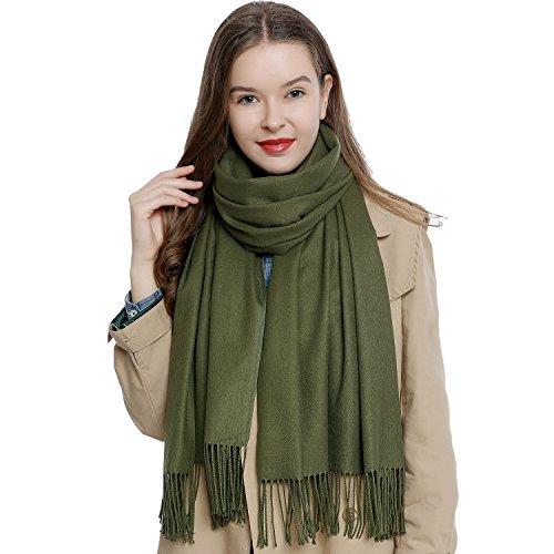 DonDon Damen Schal einfarbig weich 185 x 65 cm dunkelgrün
