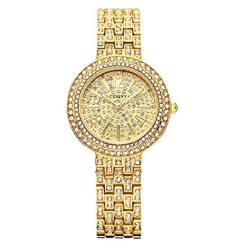 SUKPETA Reloj de pulsera redondo de acero inoxidable con diamantes de imitación de cristal y diamantes de imitación con movimiento de cuarzo japonés para las mujeres