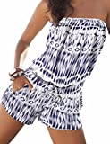 Sexyshine Women's Strapless Off Shoulder Printed Beachwear Short Rompers Jumpsuits Blue,M