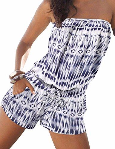 Emma Damen Strapless tr?gelos weg von der Schulter kurzer Overall Sexy Sommer Strand mit Druck Jumpsuits Rompers(BE,XL)