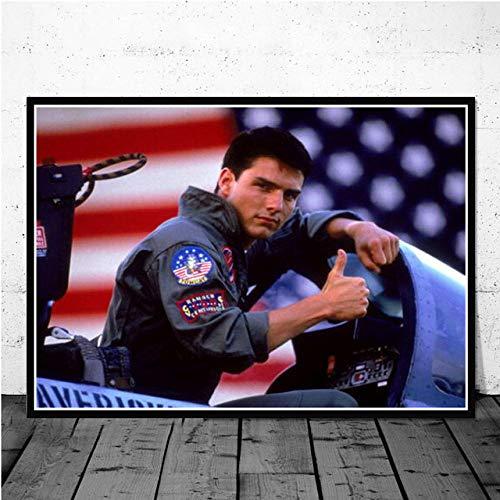 WJY Top Gun Film Tom Cruise Film Bande dessinée Affiches et Impressions peintures pour Salon Mur décoration de la Maison Mode Impression Affiche 60cm x90cm Pas de Cadre