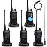 BaoFeng UV-82 BaoFeng Radio 8 Watt High Power UHF VHF Ham Radio Dual Band Amateur BaoFeng Walkie Talkies Portable 2 Way Radio 5 Pack with Driver Free Programming Cable and Long Antenna