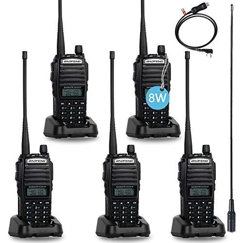 BaoFeng UV-82 BaoFeng Radio High Power UHF VHF Ham Radio Dual Band Amateur BaoFeng Walkie Talkies Portable 2 Way Radio 5 Pack with Driver Free Programming Cable and Long Antenna