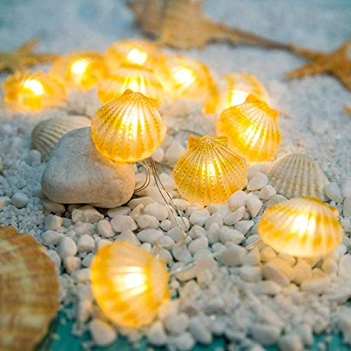 Ocean Seashell 30 LED String Lights - Battery Operated Waterproof with Timer and Remote Control 8 Modes for Bedroom/Parties/Halloween/Thanksgiving/Christmas