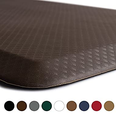 KANGAROO BRANDS Original 3/4  Anti-Fatigue Comfort Standing Mat Kitchen Rug, Phthalate Free, Non-Toxic, Waterproof, Ergonomically Engineered Floor Pad, Rugs for Office Stand Up Desk, 32x20 (Brown)