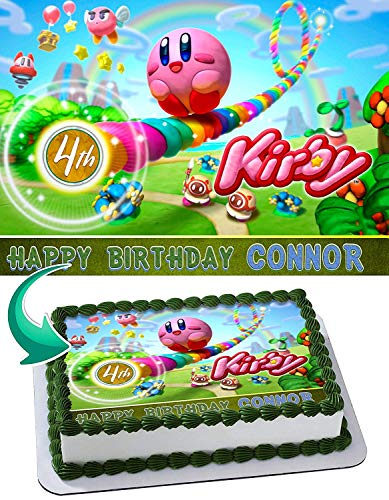 Kirby Edible Image Cake Topper Party Personalized 1/4 Sheet