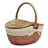 Fei Mei Cesta de Picnic de Mimbre Ovalada Estilo campestre con Asas y Forros Plegables para picnics, Fiestas y barbacoas - 26 cm (L) x 18 cm (W) x 30 cm (H)