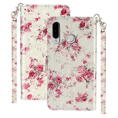 Ancase Handyhüllen für Xiaomi Redmi Note 8T Hülle mit Kartenfach Lederhülle Schutzhülle Flip Hülle Klapphülle Tasche 3D Glitzer Cover - Rosen Blume