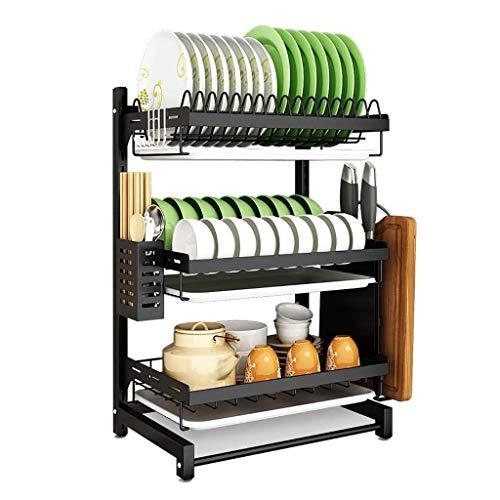 HUOQILIN Hogar Almacenamiento de Cocina Estante, Estante de la Cocina, Negro 201 Acero Inoxidable Mesa de Drenaje Rack Estante for Platos, 2 Capas / 3 Capas, Capa 2 XUAGMT (Size : 3 Layers)