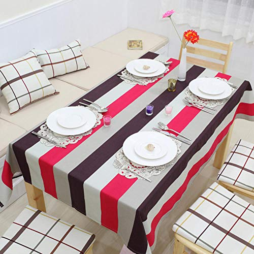 Creek Ywh tafelkleden voor terrasplanken, tafelkleden voor feestjes, eenvoudig tafelkleed, gestreept, modern, tafelloper van katoen, roze rood