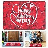 Valentine's Day Rose Petals Non-Slip Door Mat- 15.7'' × 23.5'' Happy Valentine's Day Rose Petals Pattern Entry Rug, Indoor & Outdoor Welcome Mat for Home Decor