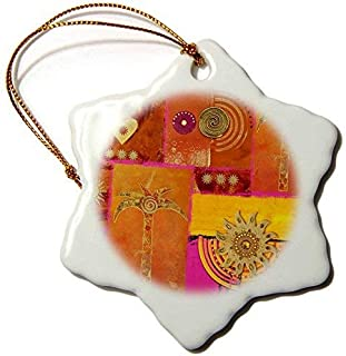 Dozili Christmas Decoration Ethnic Style Painting with Palm Tree and Ornaments 3 inch Ceramic Ornaments Merry
