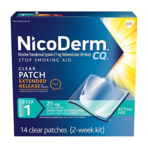 NicoDerm CQ Step 1 Nicotine Patches to Quit Smoking Clear Patch 14 Count (Pack of 1)