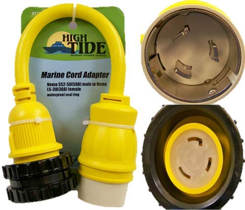 50 Amp Male to Locking 30A Female Marine adapter with LED Indicators (7731)