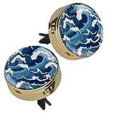 2PCS giapponese astratto blu stampa onda aromaterapia diffusore olio essenziale medaglione chiusura magnetica con clip di sfiato 4 cuscinetti di ricarica (oro)