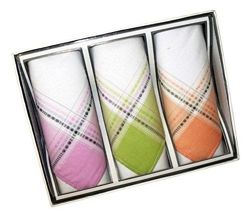 Karl Teichmann Weißes Damen Stofftaschentuch I Stoff-Taschentücher mit Farbiger Satin-Kante I 3-er Pack I 100% Baumwolle I 30 x 30 cm