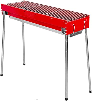 Jun Feng Shop Barbecue Grill, Barbecue Box Outdoor Household Portable Charcoal Strip Barbecue Grill (Suitable for 5~7 People) BBQ Grill (Color : Red)