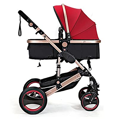 QXMEI Kids Pram Travel System 3 En 1 Combi Cochecito Buggy Baby Child Cochecito Reverse Or Forward Facing Rain Cover Net Bottle Holder Plegable con FootMuff,Red