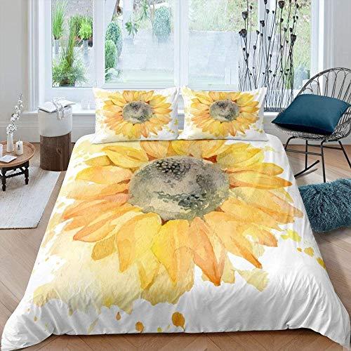 Lvvsovs 3d Bedding Polyester Fiber Quilting Bedroom Set Comfortable Duvet Cover And Pillowcase Watercolor plant hand painted sunflower 3pcs,king 3PCS 220 x 230 cm