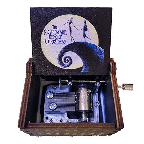 SIQI Caja de música de madera con manivela de 18 notas, diseño de la pesadilla antes de Navidad