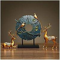 彫刻、彫像樹脂鹿の装飾オフィス装飾彫刻[手彫り]デスクコレクション家の装飾-15.8インチ、家の装飾