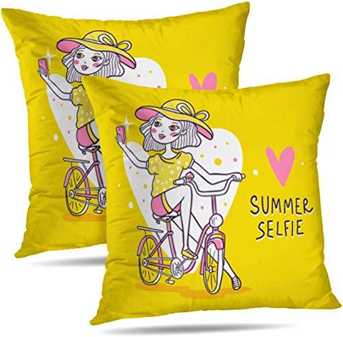 18x18inch kussenslopen mooie meisje hoed fiets nemen met roze hart platte lijn kunst dubbelzijdig patroon kussensloop bank kussensloop